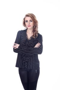Women Two Piece Lace Black and White Stripe Blouse Full Sleeves Blouse Designs pictures & photos