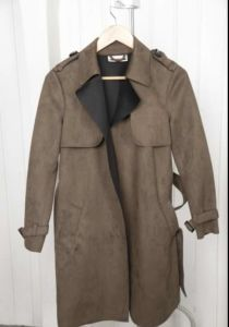 Ms Faux Suede Trench Coat Windbreaker Artificial Suede pictures & photos