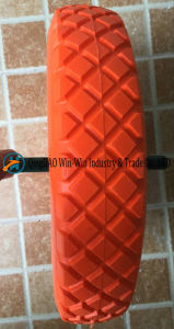 Solid Flat Free PU Foam Wheel with Colour PU Part (480/400-8) pictures & photos