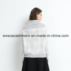 Lady Turtle Neck Cashmere Sweater with Fashion Intarsia pictures & photos