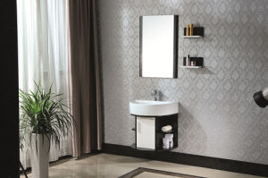 Modern Style White Solid Wood Bathroom Cabinet