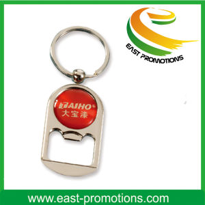 Zinc Alloy Beer Bottle Opener Key Chain with Epoxy Logo pictures & photos