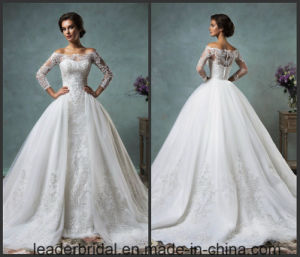 off Shoulder Bridal Ball Gowns 3/4 Sleeves Puffy Lace Wedding Dress As20179 pictures & photos