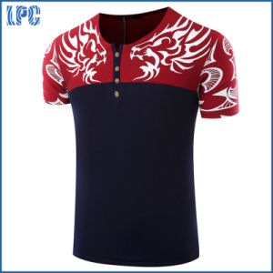 Customized Black Stitching Embroidery Fashion T Shirt pictures & photos