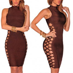 Fashion Women Sexy Slim Chiffon Side Bandage Clothes Bodycon Party Dress pictures & photos
