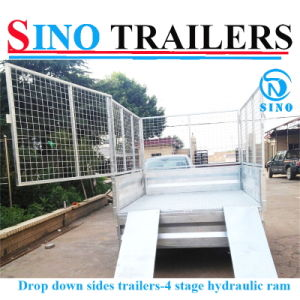 Drop Down Side Tandem Axle Hydraulic Tipping Trailer pictures & photos