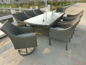 Patio Furniture Rattan Dining Table with Swivel Chair Set pictures & photos