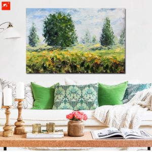 New Green Landscape Peaceful Countryside Field View Oil Painting pictures & photos