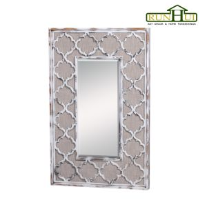 Beveled Antique Wall Mirror Art Frame in Natural Timber Finish pictures & photos