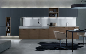 Luxury Kitchen Design Dark Color Cabinet with Sink Faucet Aluminum Kicker pictures & photos