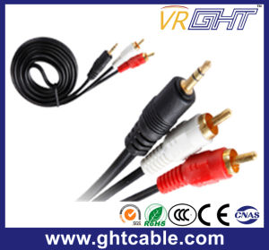 5m 3.5mm-2RCA Male to Male Audio Cable pictures & photos