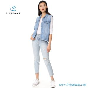 New Design Women Jeans Sleeveless Jackets Ladies Denim Vest with 56% Lyocell /44% Cotton pictures & photos