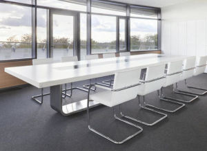 Gloss Office Furniture White Meeting Table Solid Surface Top pictures & photos
