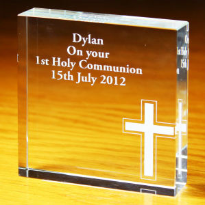 Christian Crystal Glass Cube Block for Religious Souvenir pictures & photos