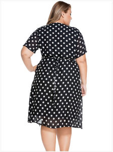 Summer Casual V-Neck Belt White Polka Dots Ladies Plus Size Chiffon Dress pictures & photos