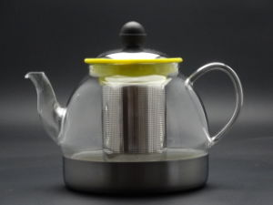 900ml Glass Teapot (made of borosilicate glass 3.3) with Steel Lid and Infuser