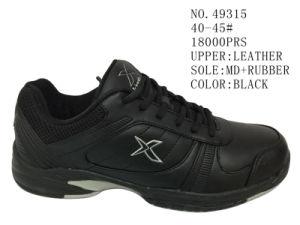 Black Color Leather Men Sport Shoes pictures & photos