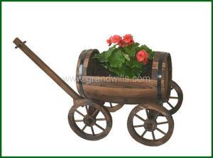 Outdoor Garden Wagon Planters Antique Large Barrel