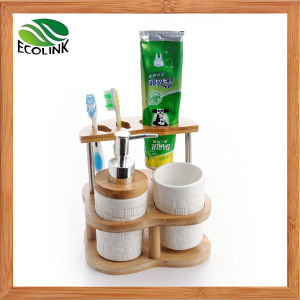 Ceramic Bathroom Accessories with Bamboo Stand pictures & photos