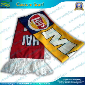 Custom Fans Scarf with White Tassel (T-NF19F06002) pictures & photos