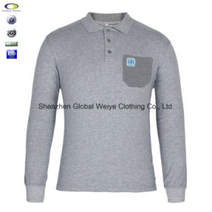 Custom Cheap Long Sleeve Polo Shirt for Men with Pocket