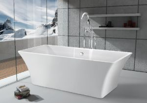 Trapezoid freestanding bathtub with faucet shower use in for How deep is a normal bathtub