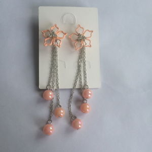 Pink Flower Earring with Metal Tassel Fashion Jewelry pictures & photos