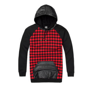 Red Plaid Patch Leather Hoodies Hooded Big Pockets pictures & photos