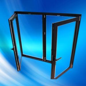Black Color UPVC/PVC Double Casement Window