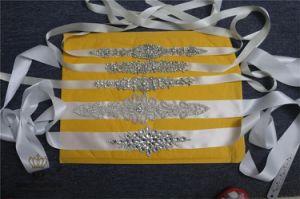 Bridal Gown Sash Belt Rhinestone Applique, Wedding Applique