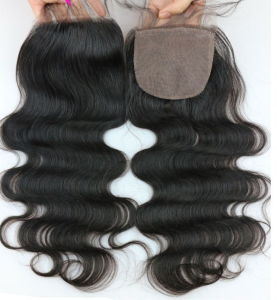 7A Peruvian Lace Closure Straight Bleached Knots 3part Closure Peruvian Virgin Hair Straight Closure Human Hair Straight Closure pictures & photos
