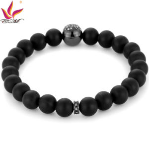 SMB007 Classical Black Color Agate Beads with Skull Bracelet Stone pictures & photos