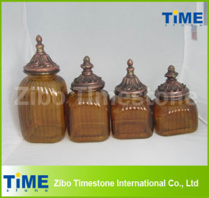 Western Wide Mouth Antique Amber Colored Glass Jar pictures & photos