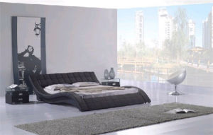 Hot-Selling Modern Black Leather Bed for Bedroom Use (HC022) pictures & photos