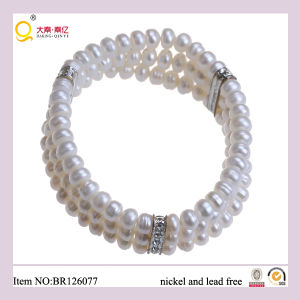 Triple 6-7mm Button Shape Freshwater Pearl Bracelet, Fashion Bracelet as Mother′s Day Gift pictures & photos