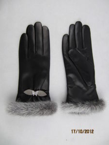 Lady Fashion Leather Gloves (JYG-23014) pictures & photos