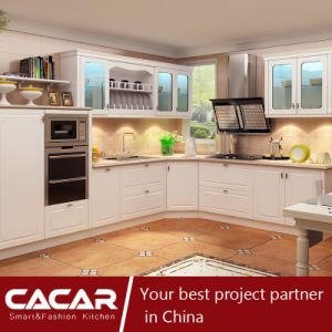 Romantic Cabin Korean White Plastic Uptake PVC Kitchen Cabinet (CA15-03) pictures & photos