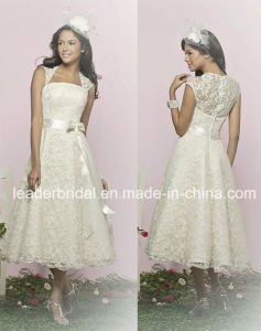 Cap Sleeves Short Wedding Dress Lace Vestidos Bridal Wedding Gowns Ld11522 pictures & photos