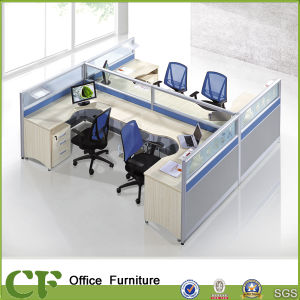 L Shaped 4 Seater Wooden Office Furniture Partition pictures & photos
