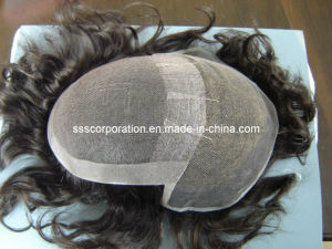 Remy Human Hair Hand Ventilated Swiss Lace Hair Toupees pictures & photos
