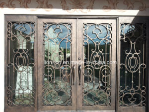 Super Quality Wrought Iron Entrance Doors with Sidelights pictures & photos