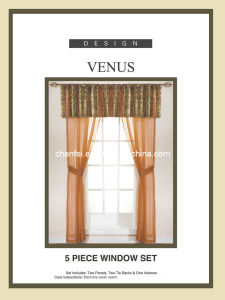 5PCS Set Decorative Voile Window Curtain (two panels two tie backs one valance)