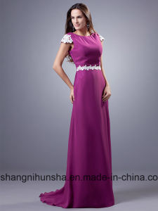 Long Bridesmaid Dresses with Cap Sleeves A-Line Chiffon Wedding Bridesmaid pictures & photos