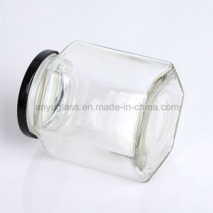 Empty Hexagon Honey Glass Jar or Bottles with Metal Cap pictures & photos