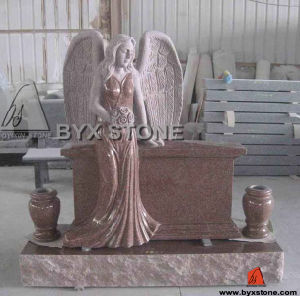 Imperial Red Granite Angel Headstone / Monuments with Vases pictures & photos