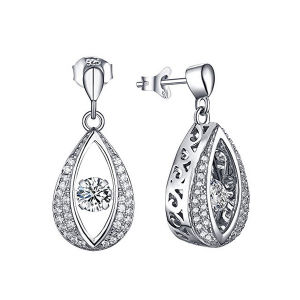 925 Silver Earrings Dangle Drop Shape Micro Setting Jewelry pictures & photos