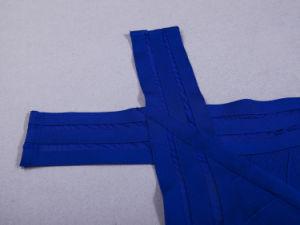 Hang Neck Blue Bandage Evening Party Dress pictures & photos