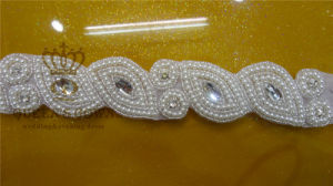 Pearl Collar/Neckline Applique Rhinestone Fabric Sash for Woman Suit