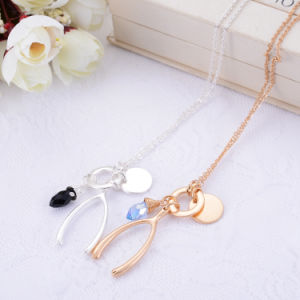 New Environmental Inlaid Crystal Long Chain Alloy Necklace Geometric Shape Pendant Jewelry pictures & photos