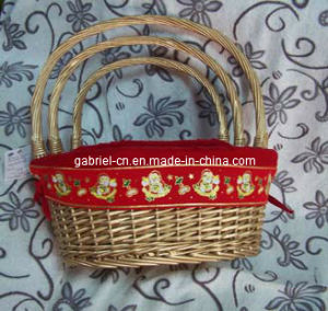Golden Wicker Basket with Red Fabric Lining (WBS042)